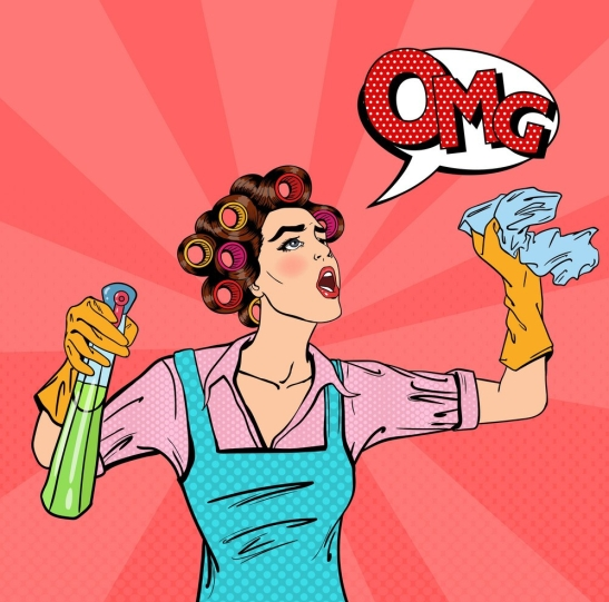 housewife-cleaning-the-house-with-spray-and-rag-vector-9503006